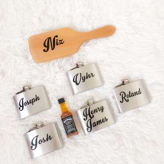 Personalized brush and flask