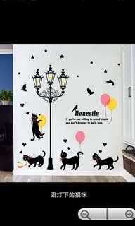 ☑️Instock Cat lamp post wall sticker diy home decor