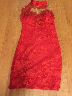 Gaun merah free ongkir jakarta