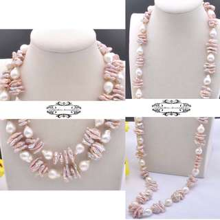 2 Ways Lustrous Genuine Biwa Keshi Edison Pearls Necklace 2穿法光亮真琵琶珍珠Keshi珍珠愛迪生珍珠項鍊