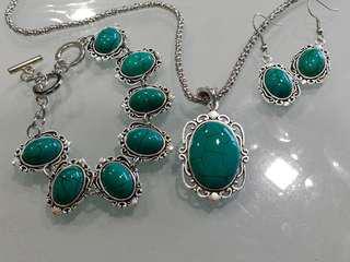 Vintage Tibetan Silver Turquoise Necklace, Bracelet & Earring Set