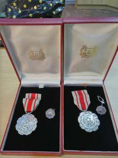2 sets Pingat Bakti Setia Medal with box and pin