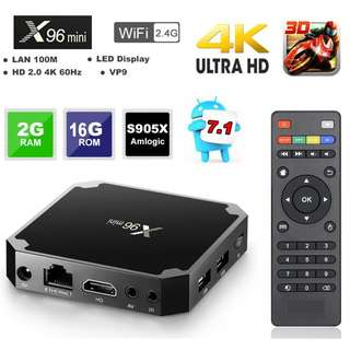 X96 Mini 64 bit Quad Core 4K Smart TV Box, Android 7.1 TV BOX Amlogic S905W Quad Core Support H.265 UHD 4K 2.4GHz WiFi X96mini Set-top Box 2GB RAM 16GB ROM