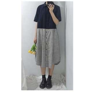 。error dot。日本雙夾拼接直條紋洋裝
