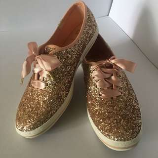 Authentic Keds x Kate Spade Rose Gold Glitter