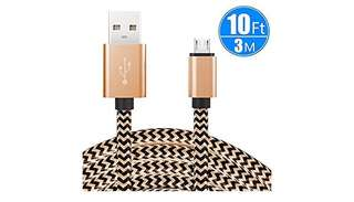 1121. Extra Long Micro USB Charging Cable, Premium Nylon Braided Android Charger USB 2.0A High Speed Data Sync Cord for Android Devices/Samsung/Motorola/Table/Windows/Camera/Reader (Gold)