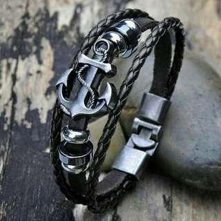 Gelang Tangan Kulit Fashion Pria Murah Hemp Faux Multilayer Wristband Good Quality