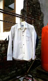 Kemeja Dress/Rapi Lengan Panjang Linen Putih