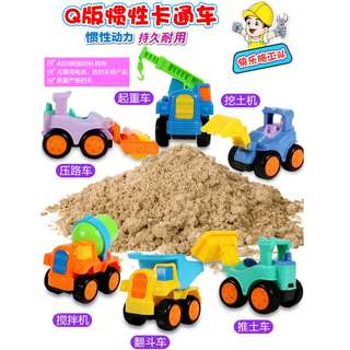 Ready Stock Q inertial Children's Construction Vehicles Truck Toys Set 6 in 1