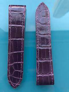 Cartier Santos 100 (Authentic) Alligator leather strap in purple