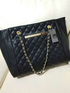 NEW Mossimo Black Arrow Target Quilted Tote Handbag Chain Strap