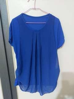 藍色假兩件式上衣