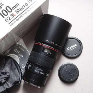 lensa canon ef 100mm f2.8 L series mulus like new tajam