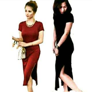Double side slit dress black and marron