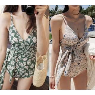 Front Overlap Tie Knot One-piece Swimsuit