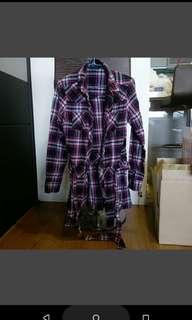 🚚 格子長袖長版上衣