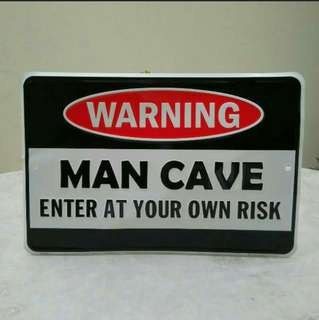"Tin Sign ""Warning Man Cave"""