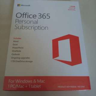 OFFICE 365 PERSONAL 1 YEAR SUBSCRIPTION RETAIL BOX (HAVE MANY AVAILABLE)
