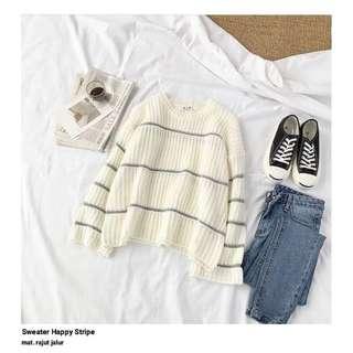 HR - 0418 - Outwear Rajut hapy stripe