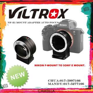 VILTROX NF-E1 MOUNT ADAPTER AUTO FOCUS  NIKON F-MOUNT TO SONY E MOUNT