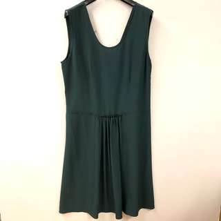 斯文裙 Marni dark green silk vest dress size 42