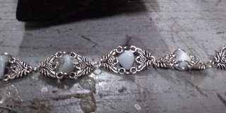 Silver bra celet with angelite stone
