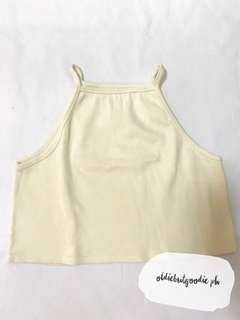 Ribbed Cream Halter Cropped Top