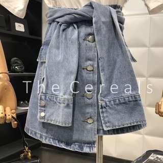 TC2500 Korea Buttons Belted Denim Skirt