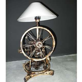 Retro Industrial Upcycled Steampunk Vintage Bicycle Table Lamp