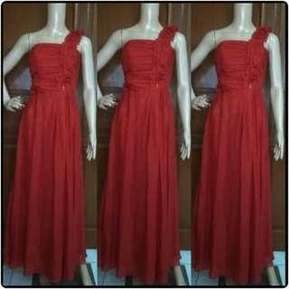 Dress Pesta one shoulder merah
