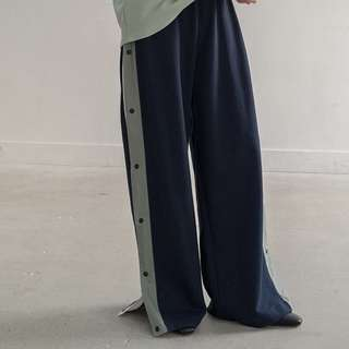 LEME STUDIOS 設計感側開釦綠邊棉質長褲