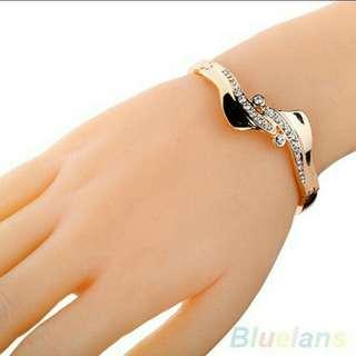 Gelang Tangan Fashion Wanita Murah Cuff Bergelombang Hiasan Berlian Buatan Good Quality Import Rosegold