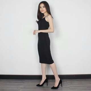 dicari!! bodycon dress hitam bahan wedges