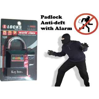 Alarm Pad Lock For Door Gate Motorcyle Bicycle with Movement shock Sensor Padlock Anti-Deft