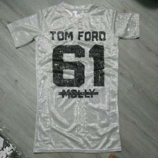 Tom ford white silver shinny dress shirt hip hop