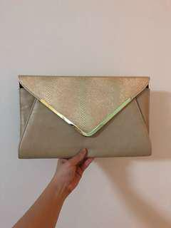Large gold Colette envelope clutch