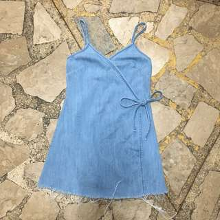 Bershka Denim Wrap Dress