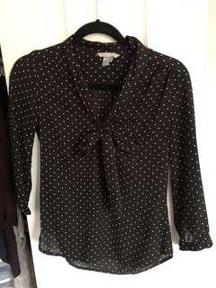 Polka dot chiffon blouse with tie