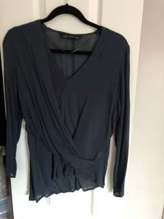 Zara flowy chiffon navy blue top