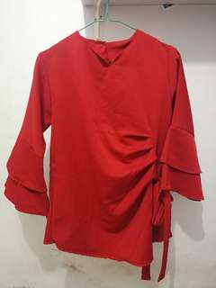 NEW Blouse Red Murah All Size Fit to M