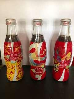 Coca-Cola 2002北京奧運版玻璃瓶 (250ml) 3枝