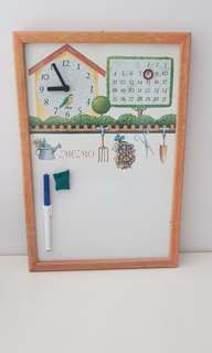Magnetic kitchen Whiteboard with clock.