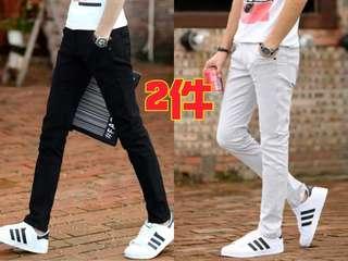 🚚 👉男士韓版彈力小腳修身休閒褲(兩件)$890#顏色:黑色,卡其色,淺灰色,寶藍色,棗紅色,咖啡色#尺寸:27~38👈