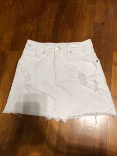 Cotton On White Denim A Line Skirt