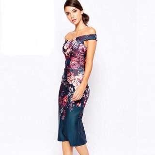 Bodycon Dress OffShoulder Off Shoulder Blue Floral