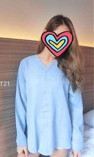 Baby blue chiffon blouse