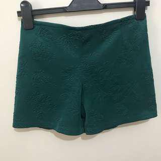 Textured Forest Green Shorts