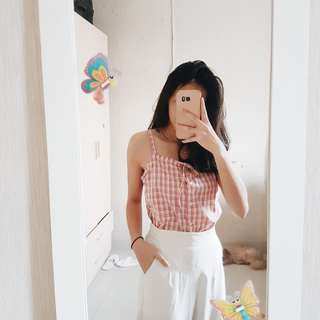 UNIQLO pink country halter