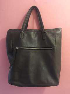 Italian Pebbled Leathered Tote w/ Messenger Strap
