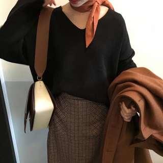 $ 199 || 復古 純色 百搭 長條 領巾 絲巾 髮帶 · 橘紅